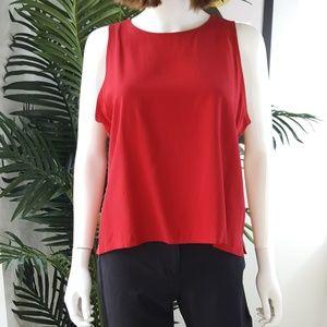 Eileen Fisher Silk Red Shell Sleeveless Top L